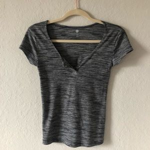 Gray Fitted V-Neck